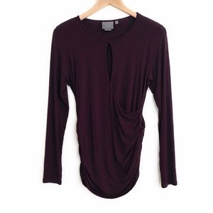 VANESSA VIRGINIA Joanie Ruched Side Keyhole Top